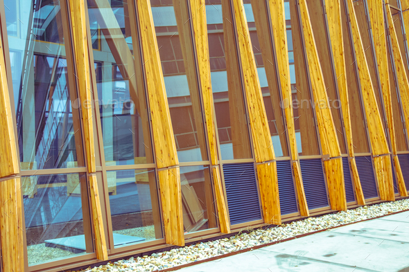 Detail of facade of modern sustainable building - Stock Photo - Images