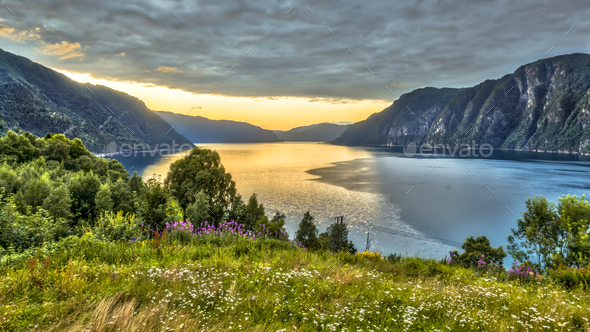Aerial View over Storfjord from Stranda viewpoint - Stock Photo - Images