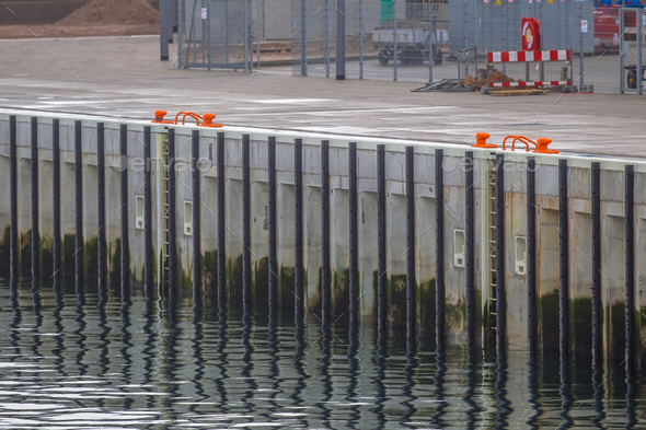 Detail of new modern quay - Stock Photo - Images