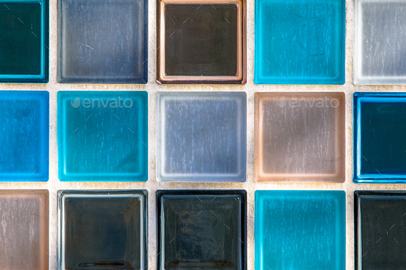 Wallpaper image of transparant glass tiles - Stock Photo - Images