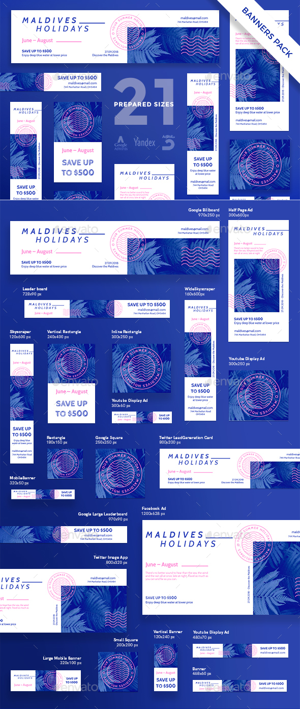 Maldives Holidays Banner Pack - Banners & Ads Web Elements