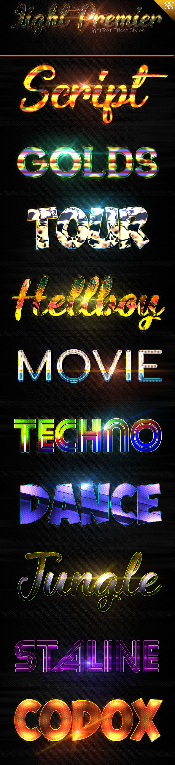 Light Text Effect Styles vol 3 - Text Effects Styles