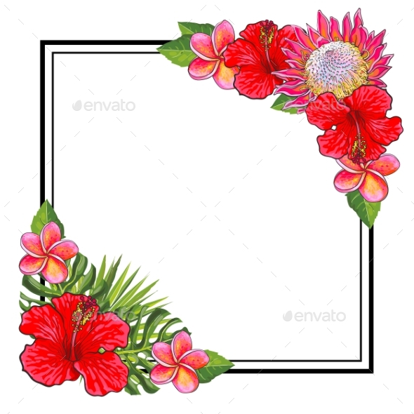 Tropical Flowers Bouquet Elements at Corners by Sabelskaya ...