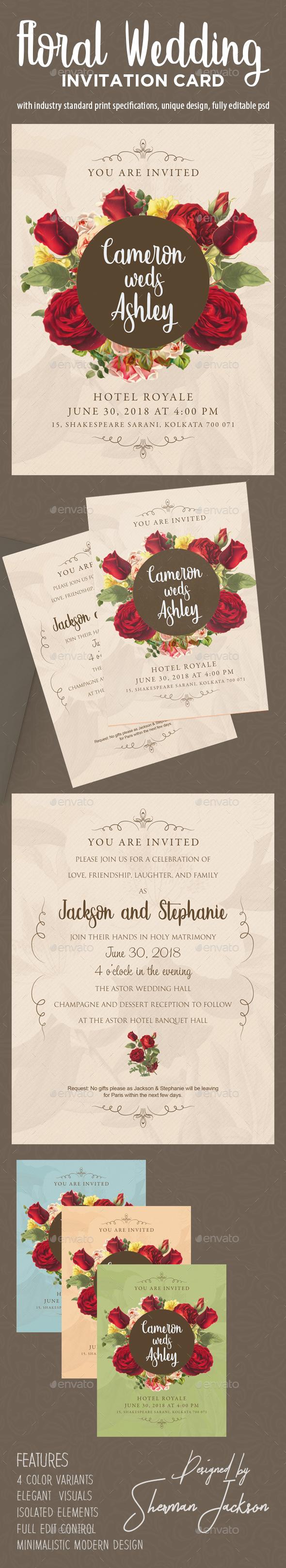 Floral wedding invitation card by widerpurpose graphicriver floral wedding invitation card wedding greeting cards stopboris Choice Image
