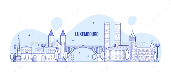Luxembourg City Skyline City Buildings Vector - Buildings Objects