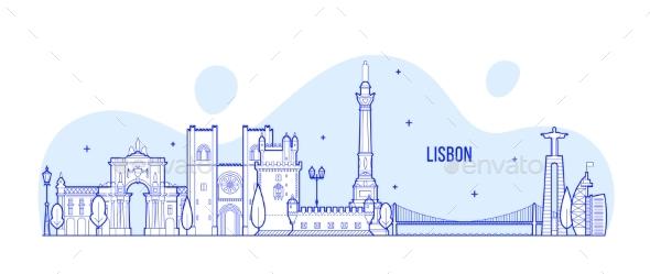 Lisbon Skyline Portugal City Buildings Vector - Buildings Objects