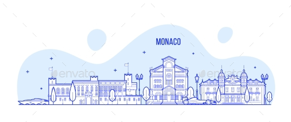 Monaco Skyline City Buildings Vector - Buildings Objects