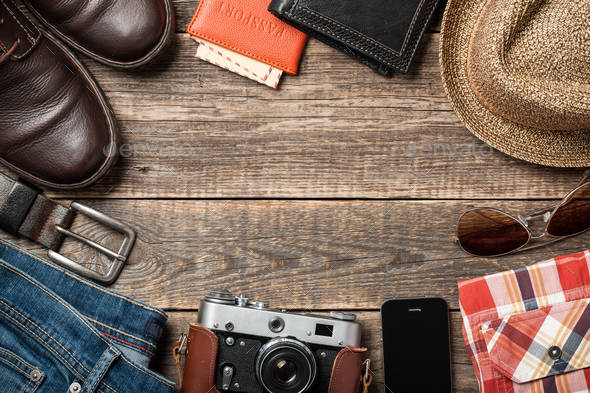 Men's clothes and accessories on wooden boards - Stock Photo - Images