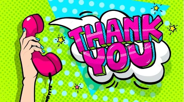 Thank You Word Bubble in Pop Art Comics Style - Miscellaneous Vectors