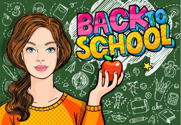 Young Woman Teacher in Front of a Blackboard - Miscellaneous Vectors