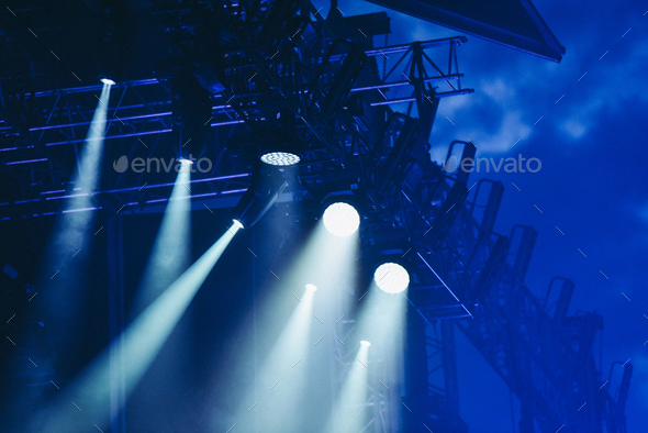 Stage lights at a live music concert - Stock Photo - Images