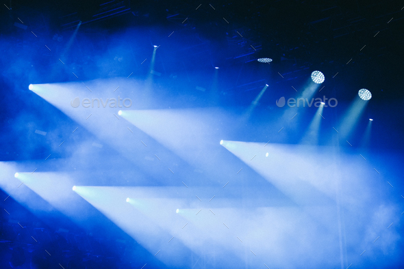 Blue stage lights at a rock concert - Stock Photo - Images