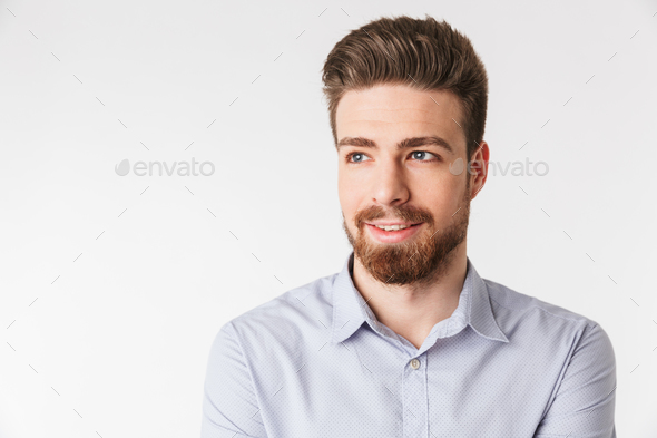 Close up portrait of a smiling young man - Stock Photo - Images