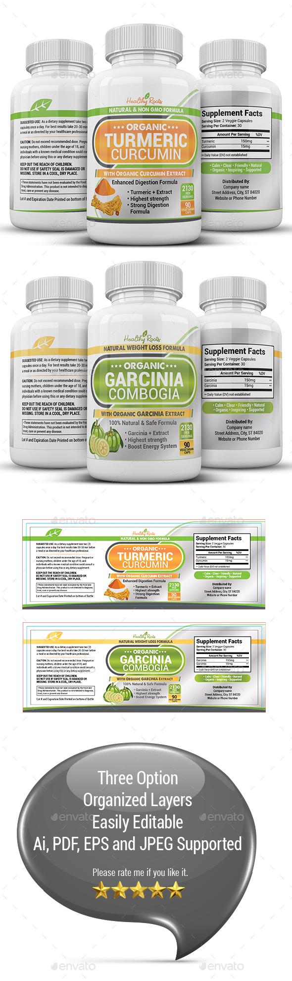 Turmeric & Garcinia Supplement Label - Packaging Print Templates