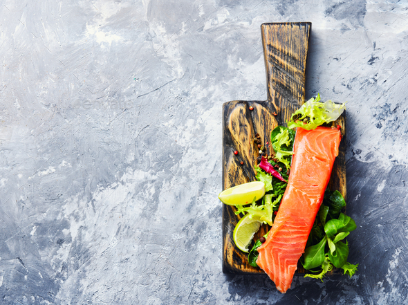Salmon fillet with aromatic herbs - Stock Photo - Images
