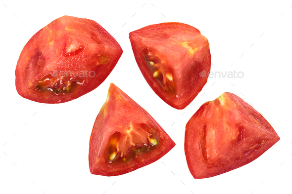 Tomato chunks pieces cuts, top, paths - Stock Photo - Images