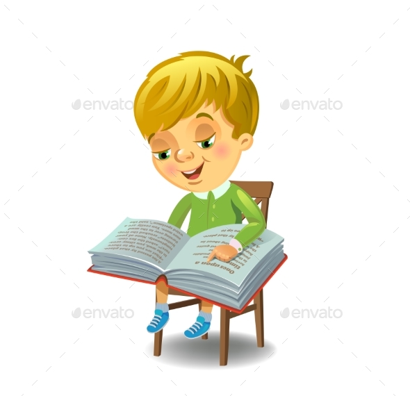 Boy Reading Book - People Characters