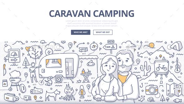 Caravan Camping Doodle Concept - Travel Conceptual