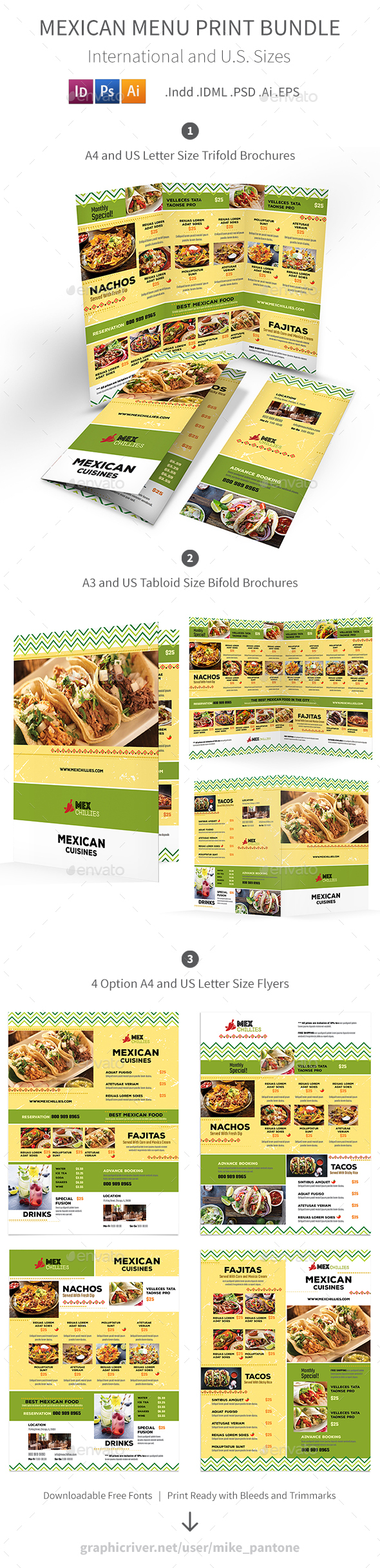 Mexican Restaurant Menu Print Bundle 2 - Food Menus Print Templates