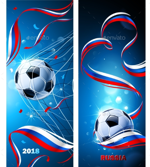 Banners Soccer Ball with Flag of Russia - Sports/Activity Conceptual