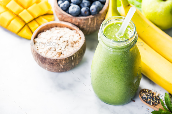 Close-up of green fresh smoothie - Stock Photo - Images