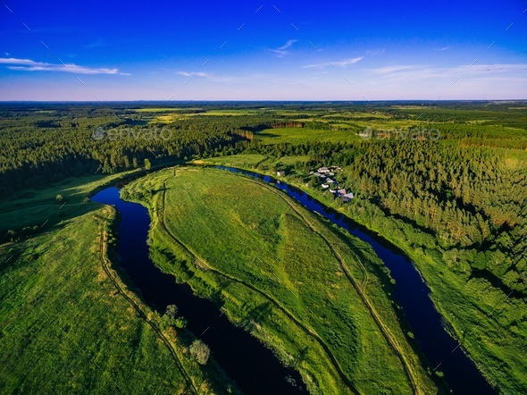 Aerial view of the forest river in summer landscape - Stock Photo - Images