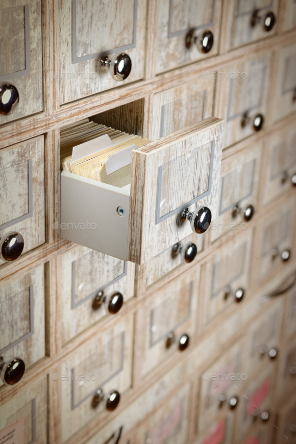 Library drawer close up - Stock Photo - Images