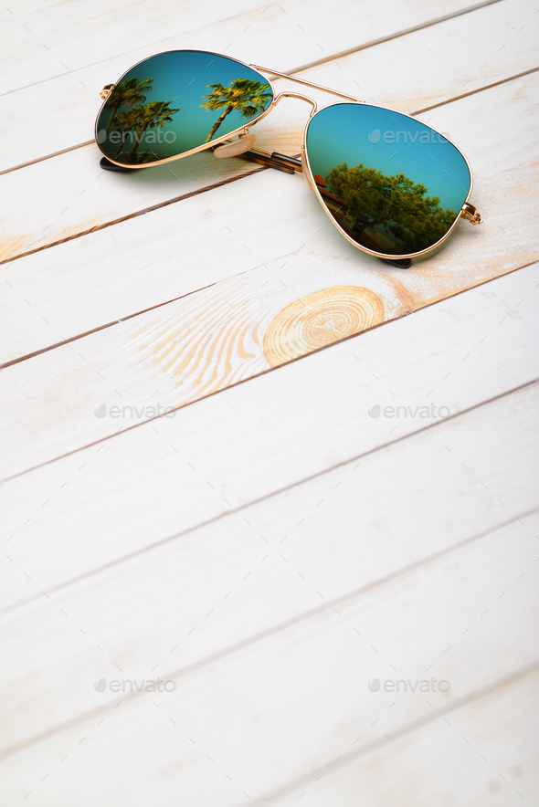 Sunglasses on wooden planks - Stock Photo - Images