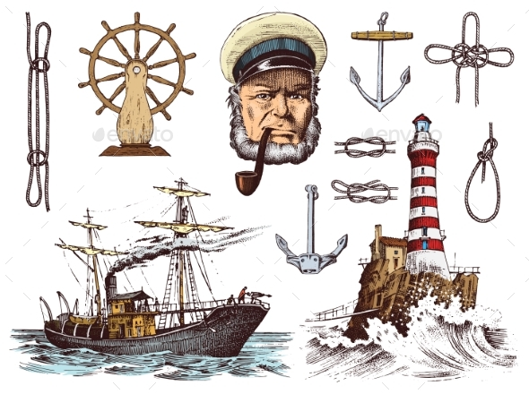 Boatswain with Pipe. Lighthouse and Sea Captain - Animals Characters