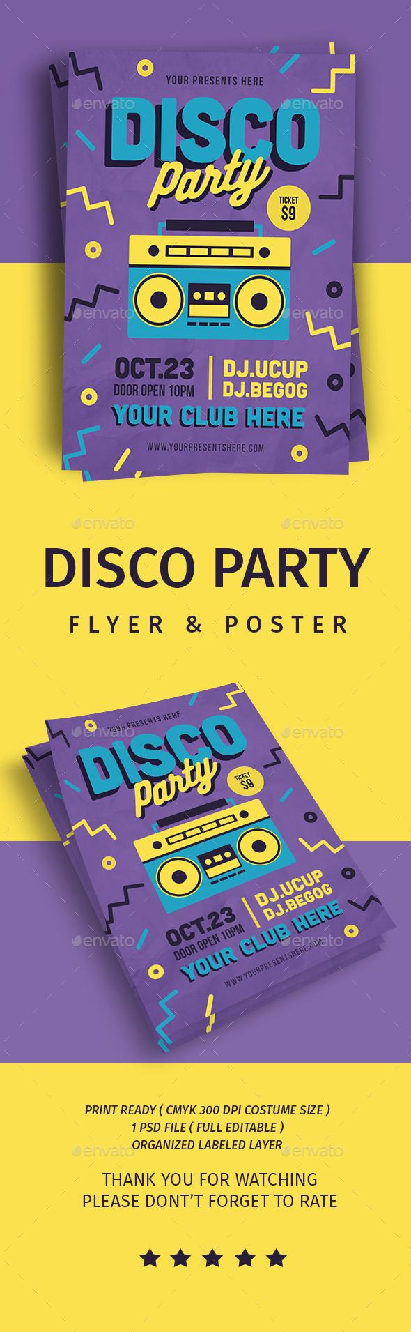 Disco Party Flyer - Flyers Print Templates