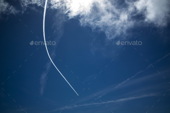 The Scia left by an airplane - Stock Photo - Images