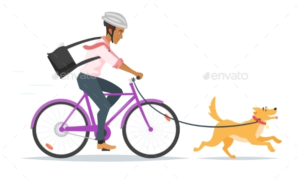 Afro American Businessman Riding  Bike - Abstract Conceptual