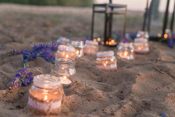 Jars full of candles - Stock Photo - Images