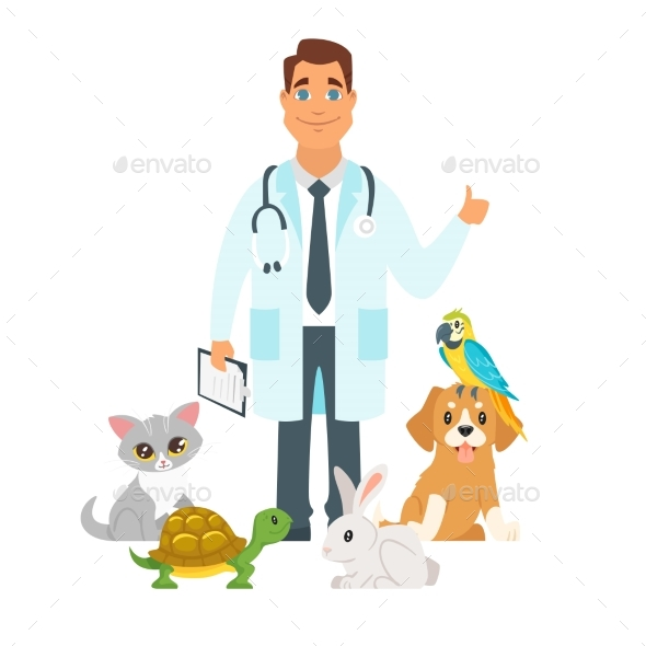 Veterinarian Surrounded with Home Pets - Animals Characters