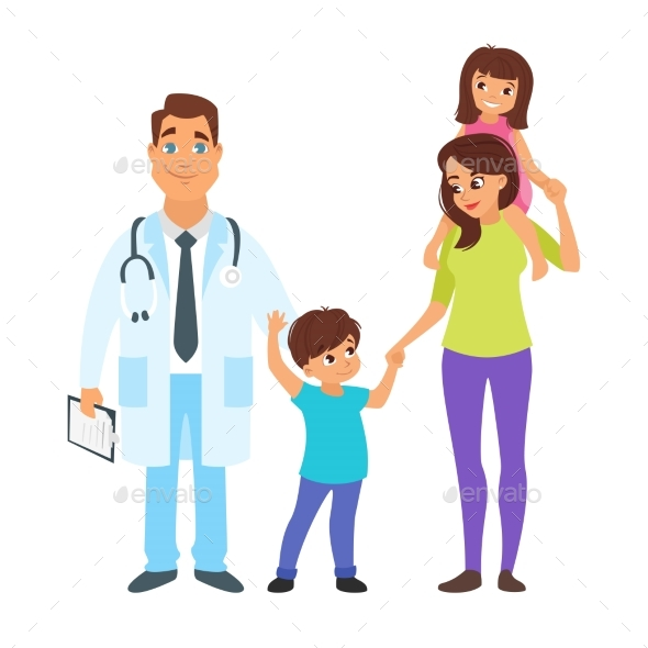 Doctor with Mother and Children - Health/Medicine Conceptual