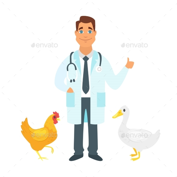 Veterinarian Doctor with Farm Birds - Health/Medicine Conceptual