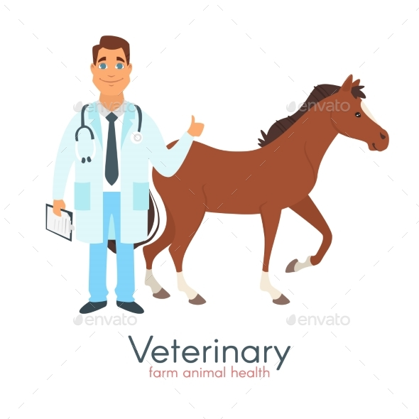 Veterinarian Doctor with Horse - Animals Characters