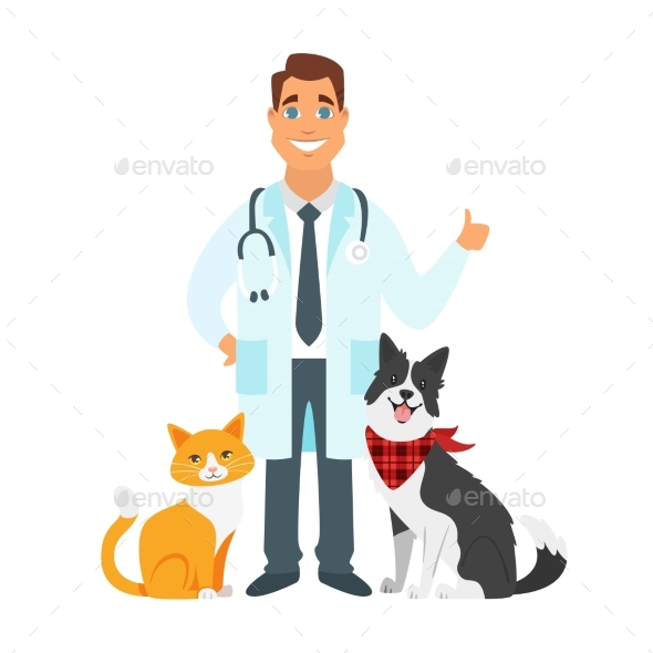 Veterinarian Doctor with Cat, Dog - Animals Characters