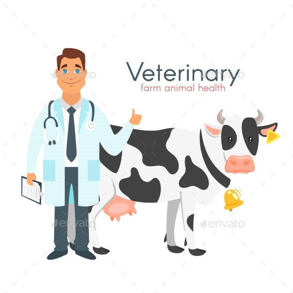 Veterinarian Doctor with Cow - Animals Characters