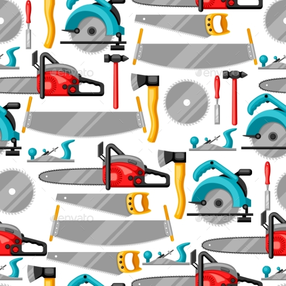 Seamless Pattern with Equipment and Tools - Industries Business