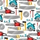Seamless Pattern with Equipment and Tools