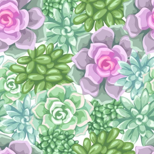 Seamless Pattern with Succulents. - Flowers & Plants Nature