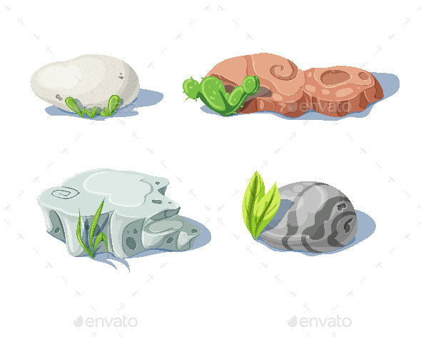 Set of Isolated Stones and Nature Rocks and Boulders - Organic Objects Objects