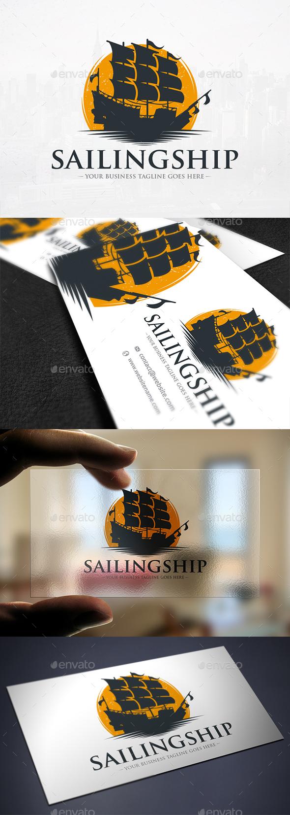 Sailing Ship Sun Logo - Objects Logo Templates