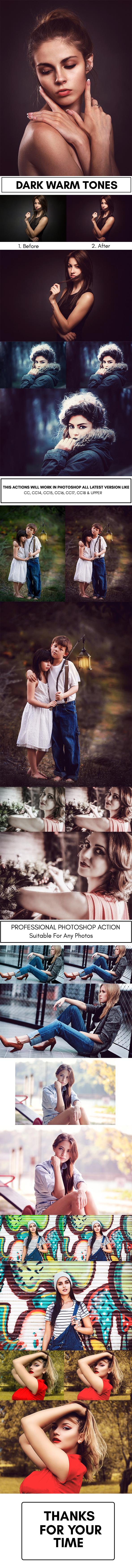 Dark Warm Tones :: Photoshop Action - Photo Effects Actions