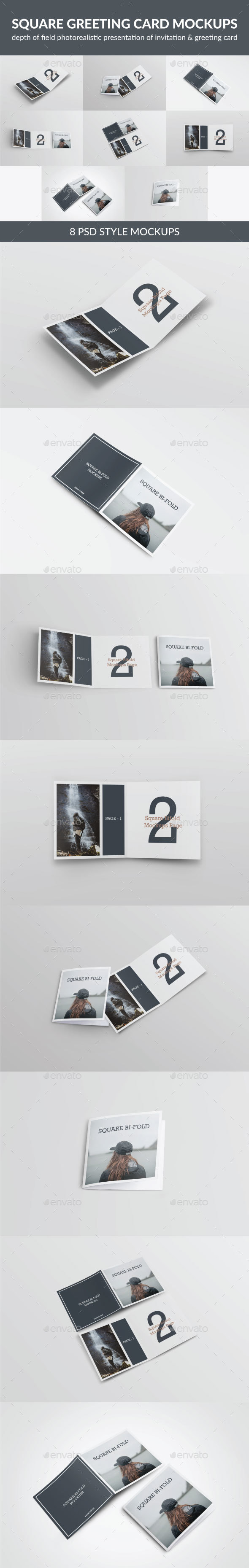 Square Greeting Card Mock-Up - Print Product Mock-Ups