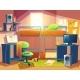 Vector Illustration of Dorm Room with Furniture