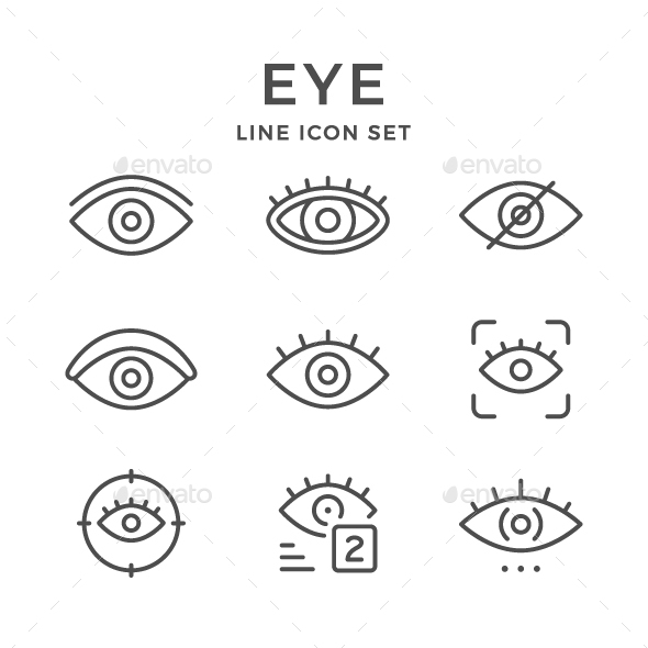 Set Line Icons of Eye - Man-made objects Objects