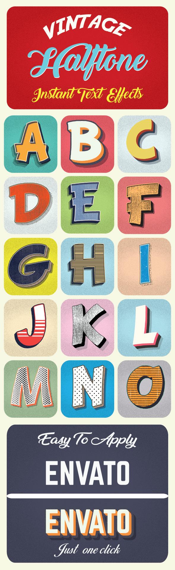 Vintage Halftone Text Effects - Styles Illustrator