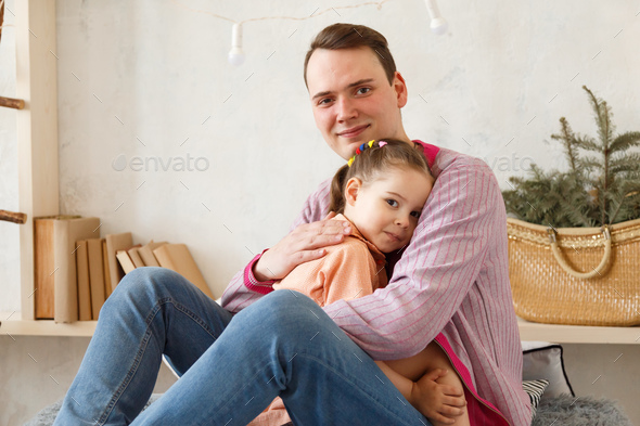 Father and daughter share love. - Stock Photo - Images